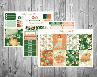 Autumn Girl Weekly MINI Kit | Erin Condren Life Planner Vertical | Planner Stickers