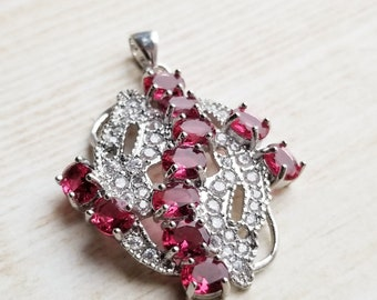 Red and White Cubic Zirconia Pendant Red Ruby DIY Jewelry Making Ruby Rhinestone