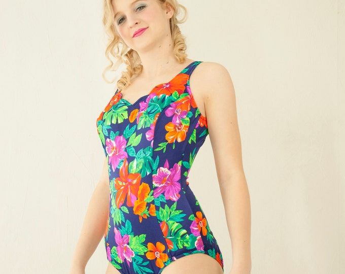 Vintage colorful floral one-piece swimsuit,blue green orange pink, low-thigh 1970s XS S