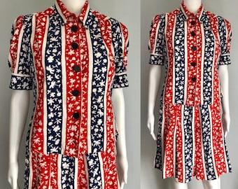 Wonderful 1940's Top and Culottes/Skirt Set Novelty Print