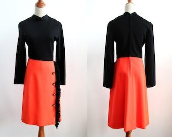 Vintage Mod Dress - Coloblock Dress with Fringe - Halloween Party Dress - Autumn Dress