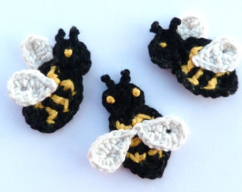 Crochet bees, Crochet applique, 3 small applique bees, cardmaking, scrapbooking, appliques, handmade, sew on patches. embellishments