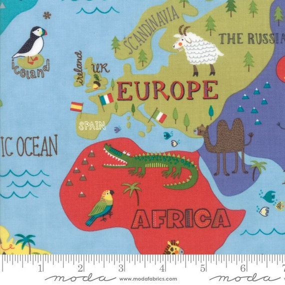 Colorful childrens world map fabric hello world by abi hall from colorful childrens world map fabric hello world by abi hall from moda 12 yard gumiabroncs Image collections