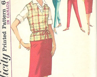 1960's Simplicity 5075 Misses Jacket, Pants, Skirt And Pullover Sewing Pattern, Size 14, Bust 34