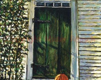 Autumn Farmhouse Door at John Greenleaf Whittier Birthplace Signed Print by Mark Reusch