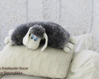 Sheep interior  pillow - knit crochet nice sheep.