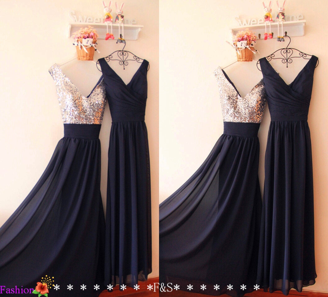 Navy prom dresses 2017 sequin dresses long bridesmaid dress zoom ombrellifo Gallery