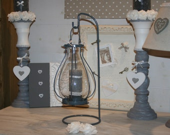 Candle lantern, grey and white
