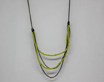 Burst beads collection: MULTISTRAND necklace offered earrings yellow and green - seed beads