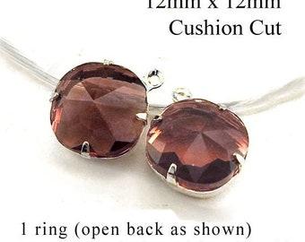 CLEARANCE - Sheer garnet red cushion cut octagon rhinestones - 12x12mm cushion cut glass beads - bridesmaid jewels - one pair