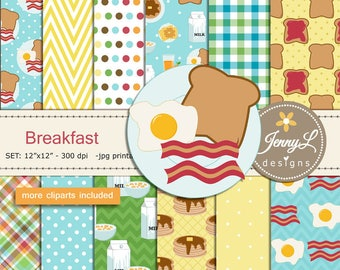 Breakfast Digital papers and Clipart SET, American Food, Coffee, Waffle, Milk, Bacon, Egg for Birthday, Digital Scrapbooking, Planner