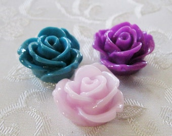 Resin Rose Flower Cabochon No Hole Choose Your Colors 19mm 949