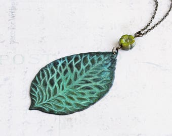 Large Leaf Pendant, Green Leaf Necklace on Antiqued Brass Chain, Long Necklace, Nature Jewelry