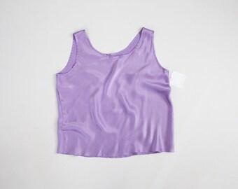 bright lilac purple silk tank top   90s silk tank   purple tank top