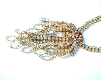 Art-Deco-Hollywood-Anweisung Halskette Vintage Strass Fransen Glas Statement-Schmuck