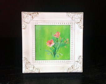 Flowers - miniature acrylic painting with frame