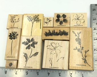 Gardener's Delight Rubber Stamp Set - set of 11 rubber stamps. Flowers Grass. Great Gift for Mom, Card Makers Gift, For Crafters, Gardeners.