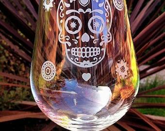 Engraved Candy/Sugar Skull Wine Glass - Handmade
