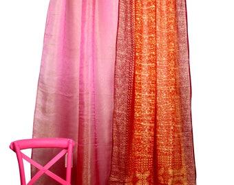 Fuchsia Pink Orange Curtain Combo Set, Sari Curtain, Colorful Boho Curtains,  Organza Sheer