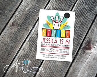 Retro Bowling Birthday Party - Bowling invitation - Bowling party - Bowling party - bowling party invite - birthday party invite