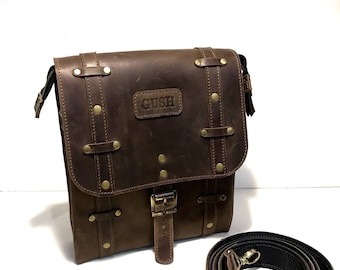Mens Steampunk Bag Leather Briefcase Mens Messenger Bag Everyday Leather Bag Mens Shoulder Bag Brown Messenger Bag Leather Brown Satchel Bag
