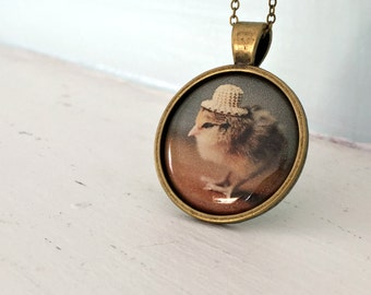 Photo Pendant Necklace of A Chicken Wearing A Miniature Straw Hat Chicks in Hats Baby Animal Jewelry