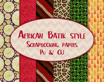 African batik style scrapbooking papers personal or commercial usage instant download