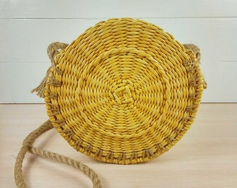 straw bag round summer bag circle straw beach bag straw woven bag beach straw tote bags small straw basket bag french market bag for women