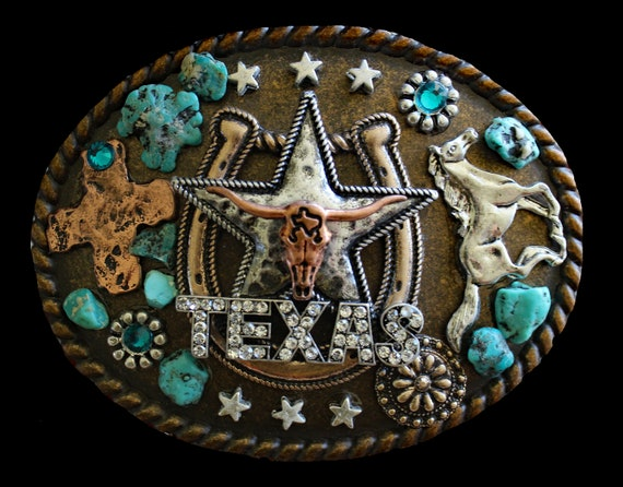 Western Texas Longhorn and Turquoise Belt Buckle