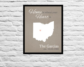 Home is Where the Heart is Anniversary / Wedding / Housewarming / Unique Custom Gift Family, Sister, Best Friend Personalized Art Print Map