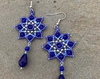 Cobalt Blue Chandelier Earrings