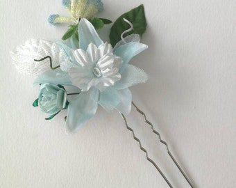 Tillie 3. Silver flower hairpin with baby blue, ivory flowers. Wedding/bridal, hairpins, flower pins. Boho, festival. Bridesmaid hair.
