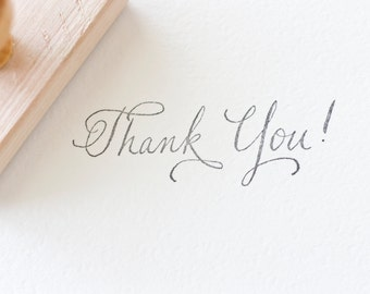 "Custom ""Thank You"" Stationery Wood Handle Rubber Stamp Calligraphy Hand Written Thank you Stamp 1.5 x 3"