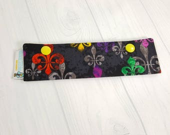 "Multicolor Fleur de Lis Short Needle Cozy DPN Holder project holder 7""x2""- (Hold up to 6"" Needles) NCS0044"