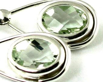 Green Amethyst, 925 Sterling Silver Leverback Earrings, SE008