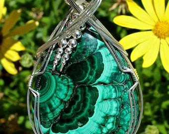 Large Malachite Stone Pendant, Malachite Jewelry, Argentium Sterling Silver Wire Wrapped, Handmade Pendant, Malachite  Jewelry Necklace
