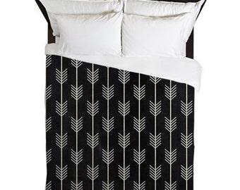 Duvet Cover, Arrows, Rustic Bedroom Decor, Arrow Bedding, Boho Decor, Black Duvet Cover, King Duvet, Queen Bedding, Twin, Apartment Decor