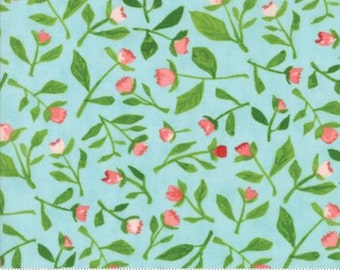 Floral Bud Leaves on Robin's Egg from Moda's Hazelwood Collection By One Canoe Two