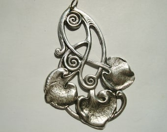 Lovely Art Nouveau Pendant or Necklace, Beautiful Sterling Silver Ox Finish, Lily Pad Look With Great Detailing, Victorian Flair, USA