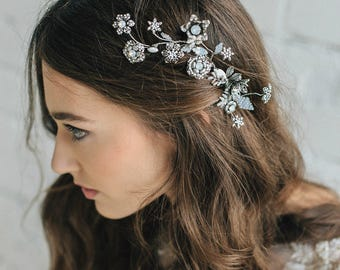 Wedding Hair Accessory , Pearl Bridal Hair Comb , Swarovski Crystal Hair Comb , Bridal Hair Comb , Floral Bridal Hair Comb for Bride