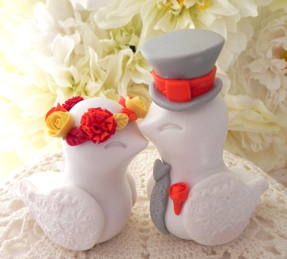 Fall Love Bird Wedding Cake Topper White Red Yellow Orange Grey Bride Groom Keepsake Custom Personalized Fall Wedding Decor