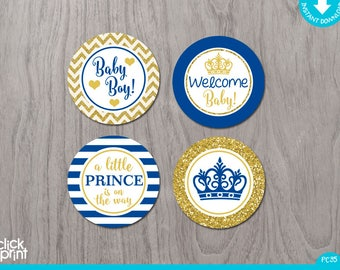 Prince Baby Shower Royal Blue and Gold Glitter Print Yourself Cupcake Toppers or Stickers,  Baby Shower Printables