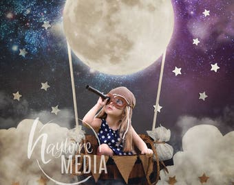 Baby, Toddler, Child, Hot Air Moon Balloon Basket Photography Digital Backdrop Background Prop for Photographers - PNG Coverup Layer