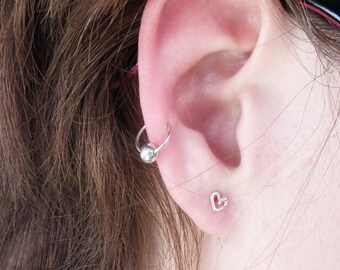Mini hoop with Sterling Silver Bead, Cartilage Earring