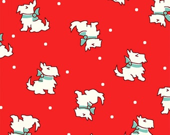 Storybook Christmas by Whistler Studios for Windham Fabrics, Red Scottie Dog 41747-3 Scotty Dogs Story Book Christmas Fabric by the Yard