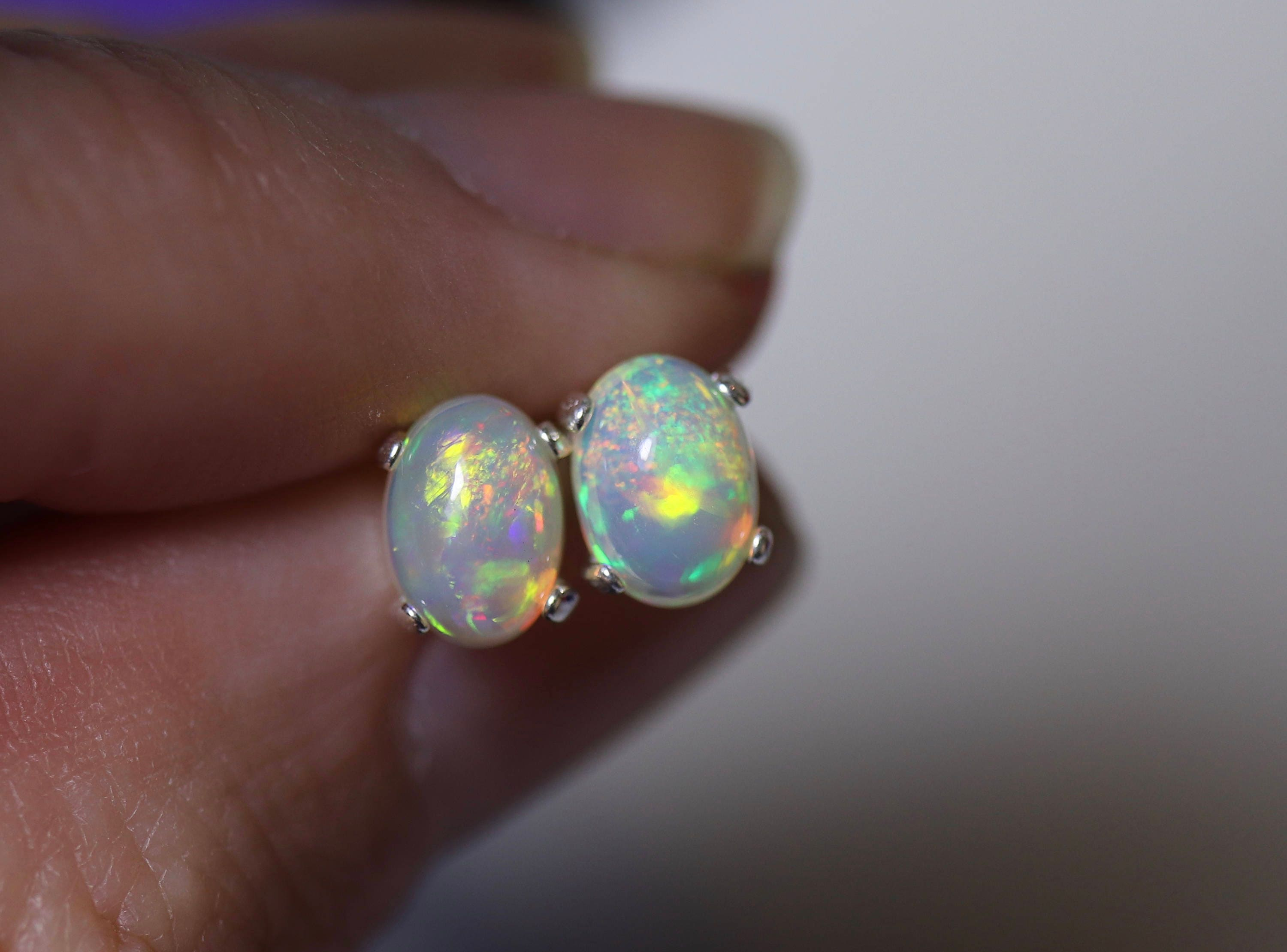 semi real gold yellow jewelry opal black oval flashopal studs earrings stud