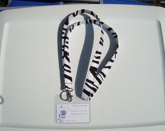 Lanyard - Key Chain / ID Holder Comes with ID Badge Cover - Chevron  Zig Zag - Zebra