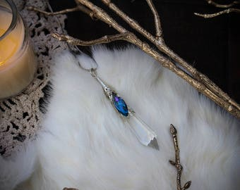 Arwen • Enchanting ethereal French crystal cut prism with an iridescent crystal bead necklace