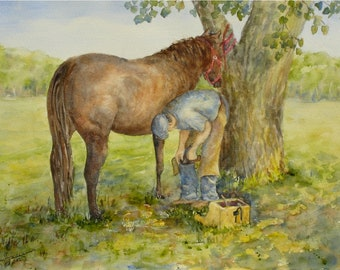 "ORIGINAL Watercolor Summer Western Prairie Horse Painting-Man Shoeing Horse-Shade Tree-11""x15"" Medium Wall Hanging"