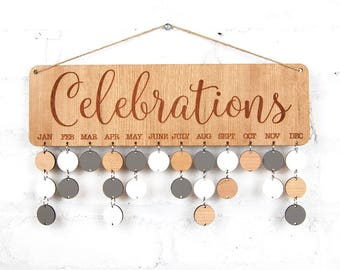 Personalised Celebrations Sign ~ Wood Board, Family & Friends, Birthday Board, celebrations, anniversaries , Cherrywood, Oak